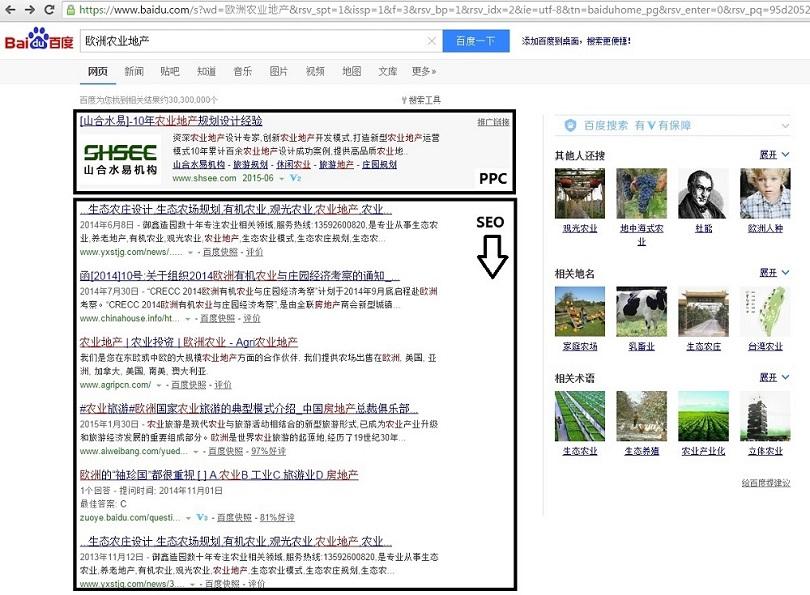Baidu SEO result. Baidu PPC example.